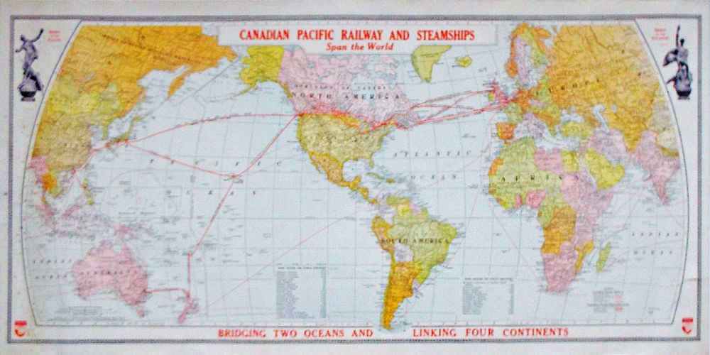 Canadian pacific railway and steamships span the world bridging canadian pacific railway and steamships span the world bridging two oceans and linking four continents gumiabroncs Images