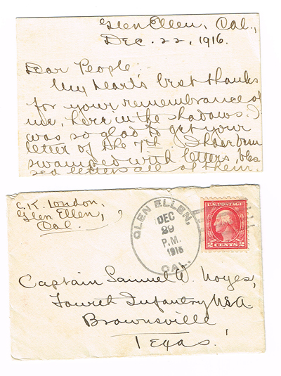 Autographed Letter Signed (ALS) from Jack London's Widow, Charmian London (Dated on the One Month Anniversary of Jack London's Death). Charmian London.