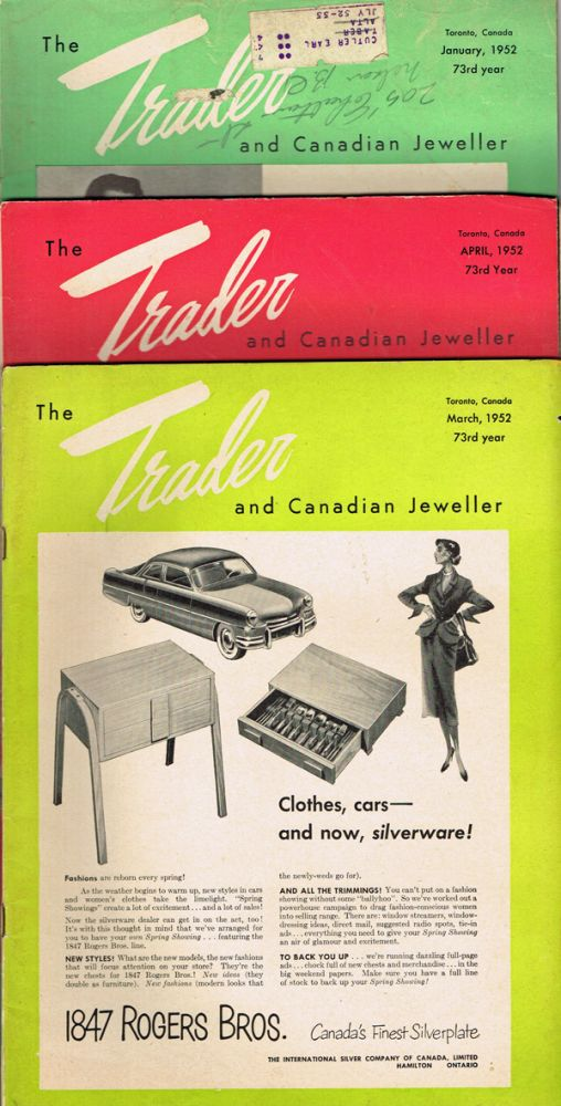 [Rolex, Ronson] The Trader & Canadian Jeweller - Jan. March, April 1952. W. B. Forbes, H. P. Weston, Ray Magladry.