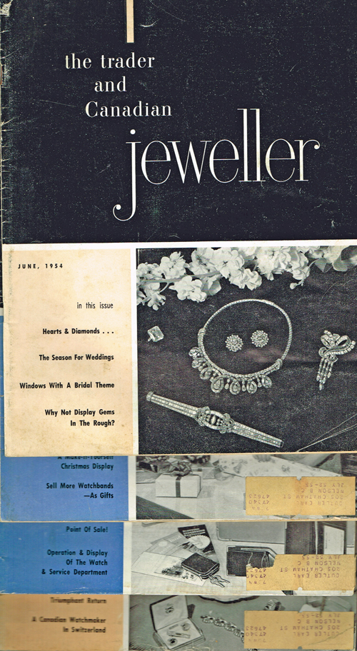 [Rolex, Ronson] The Trader & Canadian Jeweller - June, Sept. Oct. Nov. 1954. W. B. Forbes, H. P. Weston, Ray Magladry.