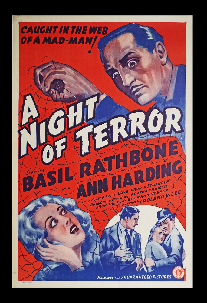 A Night of Terror (Original Film Poster). Agatha Christie, Story.