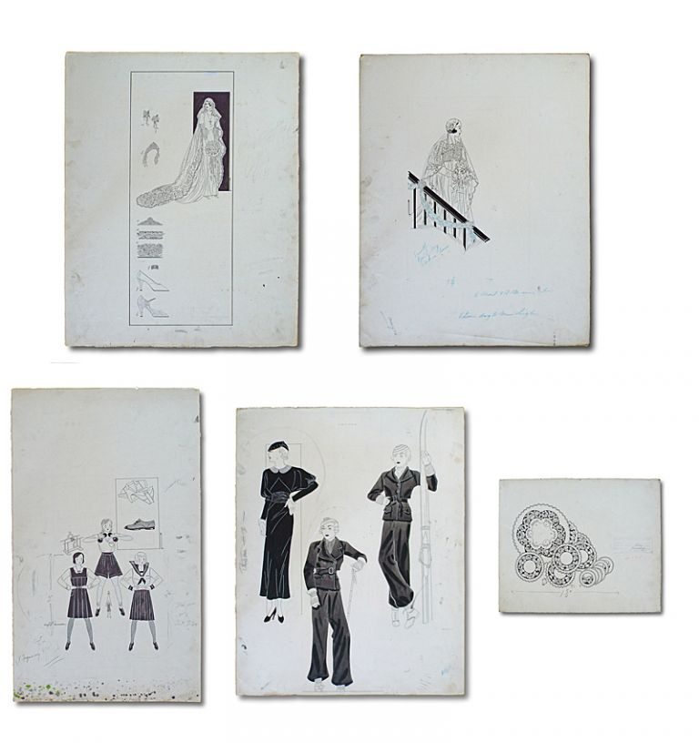 Collection of 5 Original 1930's Artist's Fashion Sketches (Ladies Wedding & Fashion Artwork ). Anonymous.