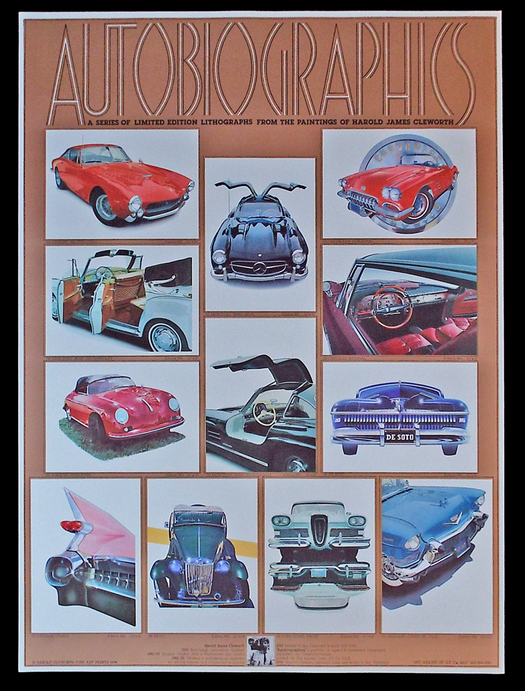 Autobiographics : A Series of Limited Edition Lithographs from the Paintings of Harold James Cleworh ('64 Ferrari 250 GTB Lusso, '55 Mercedes Benz 300 SL, '58 Chevrolet Corvette, '55 Porsche Speedster, etc.). Harold James Cleworth.
