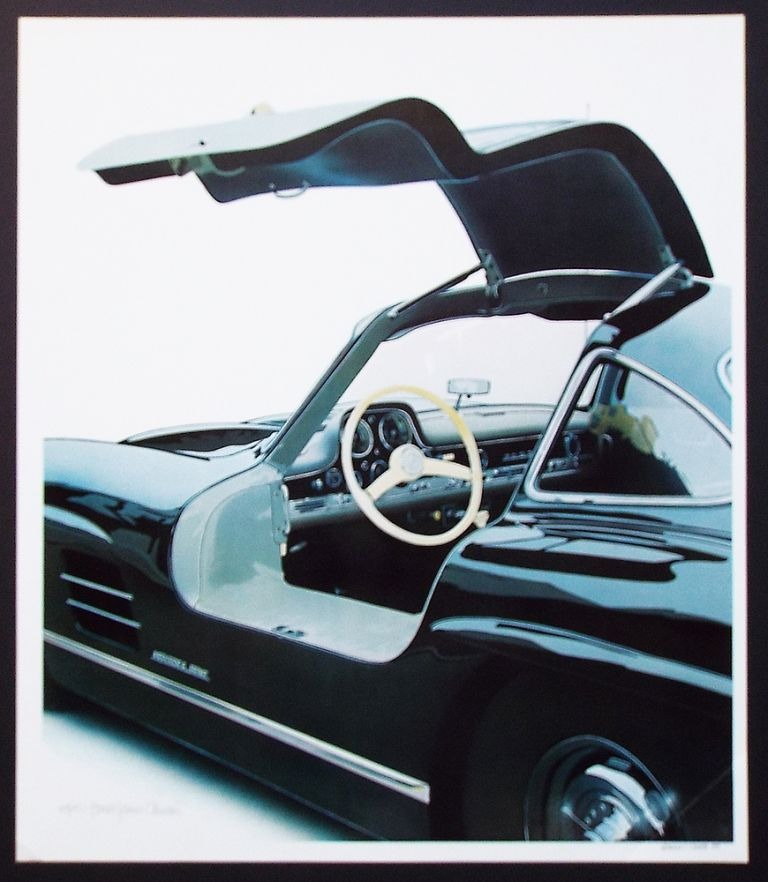 '55 Mercedes Benz 300 SL : Interior (Cleworth, Mercedes Gullwing, Signed & Numbered Limited Edition Lithograph Print). Harold James Cleworth.
