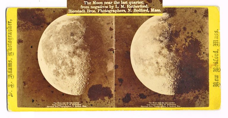 The Moon Near the Last Quarter (Lunar Images, Astro-Photography, Stereoscopic View). Lewis Morris Rutherford.