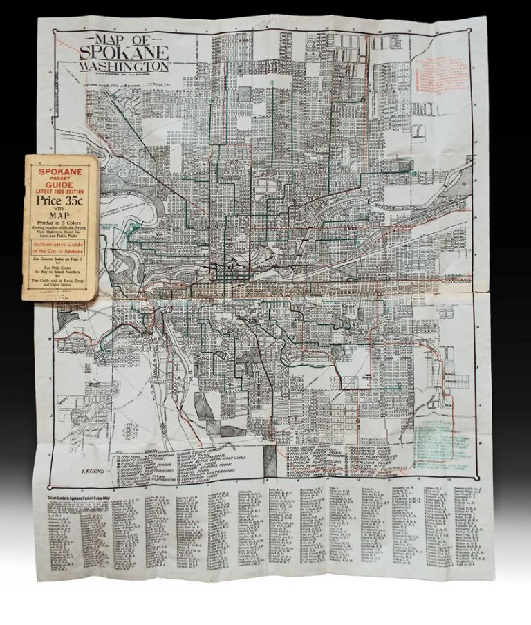 Spokane Pocket Guide Latest 1926 Edition with Map Printed in 3