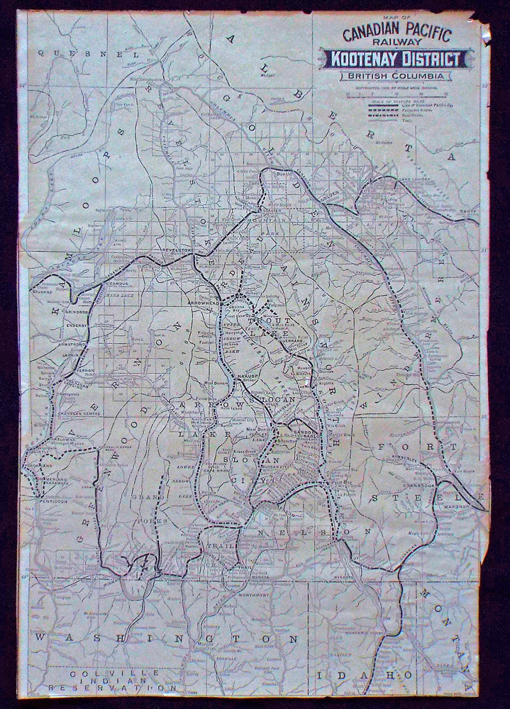 Map of Canadian Pacific Railway Kootenay District British Columbia (Gold Mining). Canadian Pacific Railway.