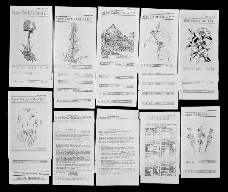 Alpine Garden Club of British Columbia Bulletin (34 Issues 1988-93 w. Seed List and Index). Alpine Garden Club of British Columbia.