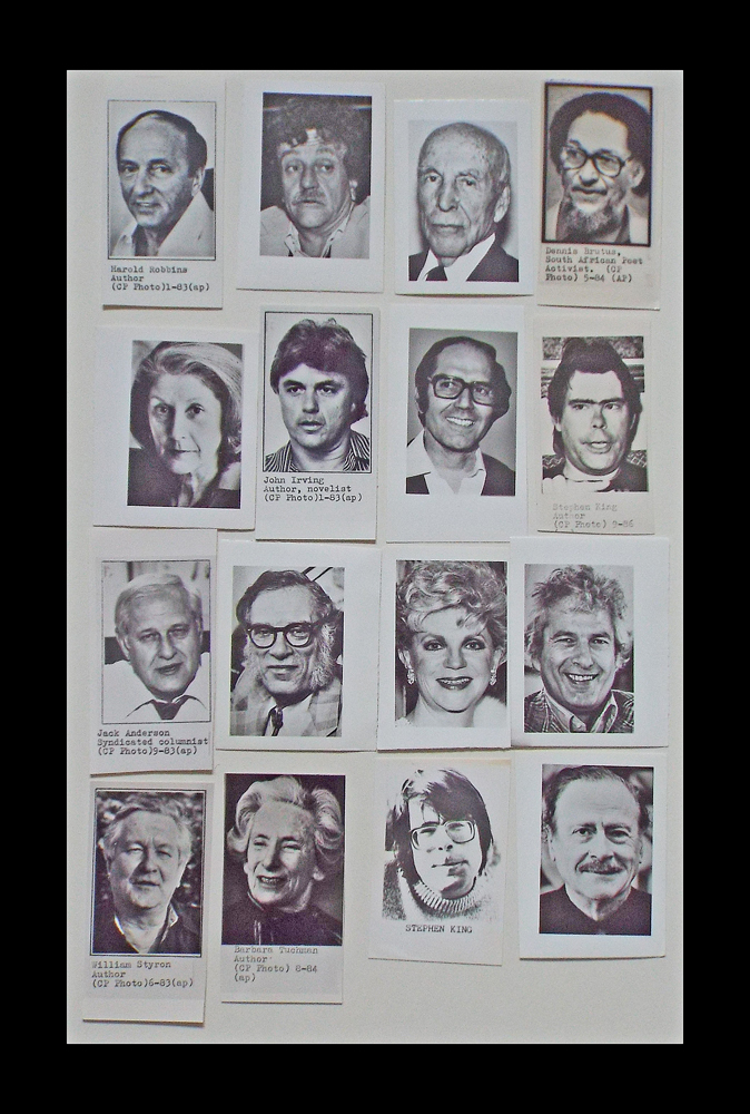 16 B&W Press Photographs of Famous Authors, Poets & Playwrights (Stephen King, Isaac Asimov, John Irving, Joseph Heller, Kurt Vonnegut Jr. et al). Canadian Press.