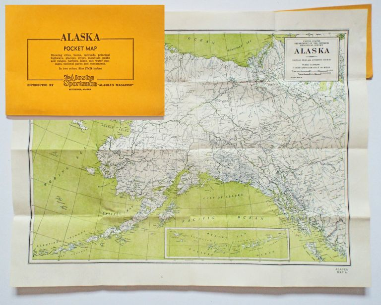 Alaska Pocket Map : Showing Cities, Towns, Railroads, Principal Highways, Glaciers, Rivers, Mountain Peaks and Ranges, Harbors, Lakes, Salt Water Passages, National Parks and Monuments. The Alaska Sportsman.