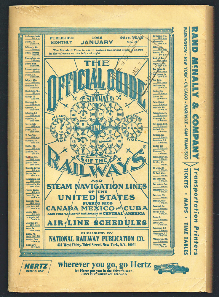 The Official Guide of the Railways and Steam Navigation Lines of the United States, Puerto Rico, Canada, Mexico and Cuba. January, 1966 (Canadian Pacific). A. J. Burns.