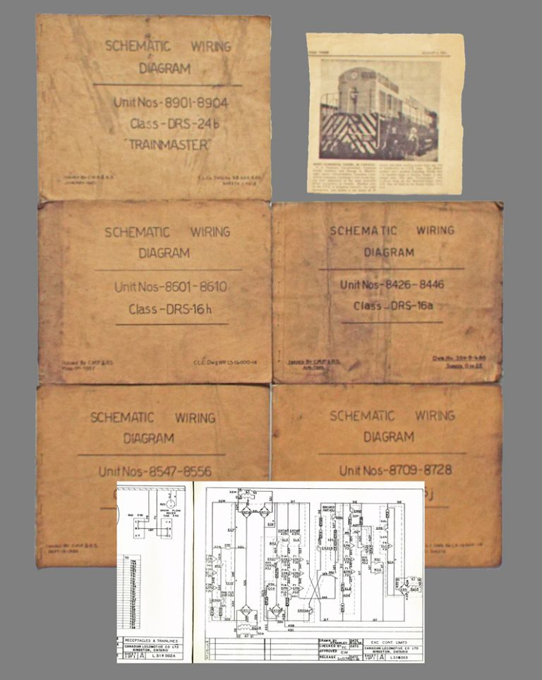 Collection of Five Locomotive Schematic Wiring Diagrams Canadian Pacific |  Canadian Locomotive Company / Canadian Pacific Railway /