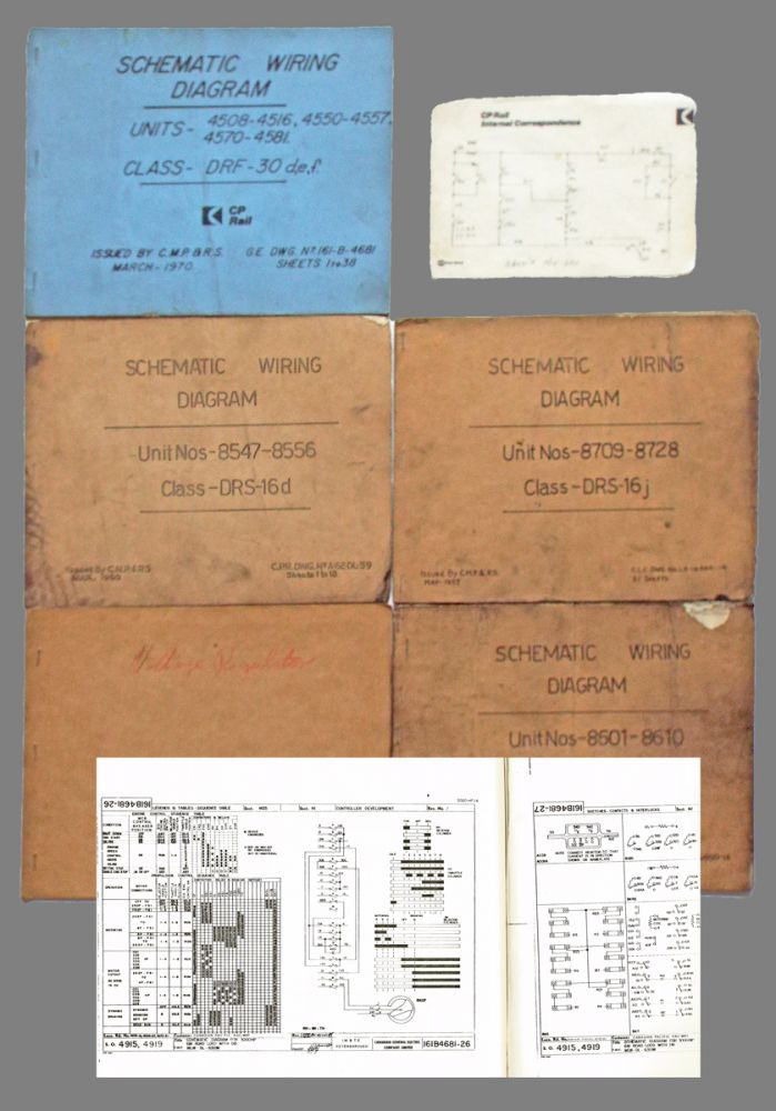 Collection of Five Locomotive Schematic Wiring Diagrams (Canadian Pacific). Canadian Locomotive Company / Canadian Pacific Railway / Canadian General Electric.
