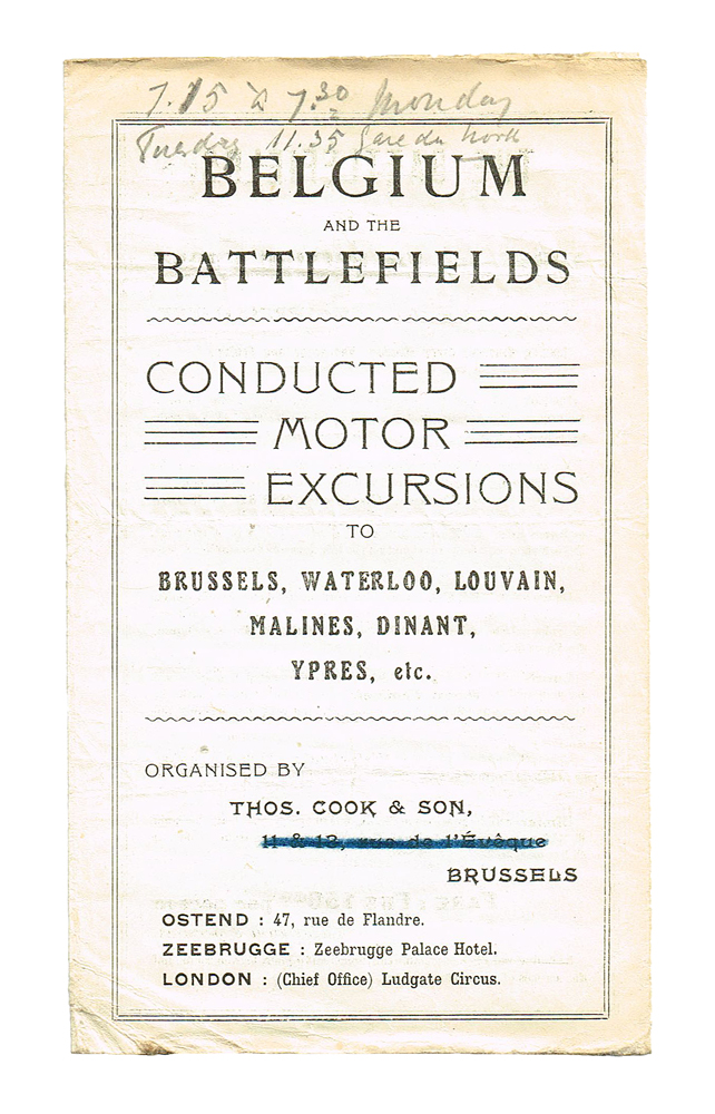 (WW I, Passchendaele, Ypres, Somme) Belgium and the Battlefields : Conducted Motor Excursions. Thomas Cook, Son.