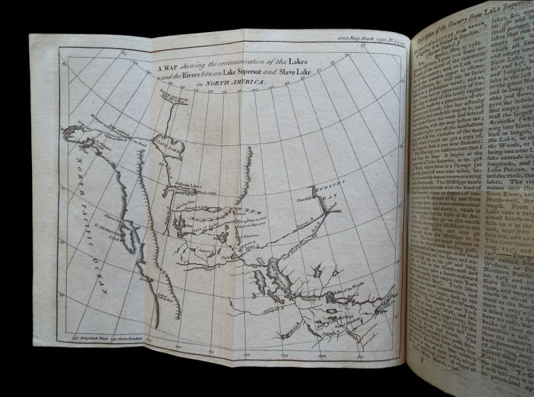 A Map Shewing the Communication of the Lakes and the Rivers Between Lake Superior and Slave Lake in North America. (Northwest Passage, Fur Trade, Lewis & Clark). Peter Pond, Edward Cave, pseud Sylvanus Urban.