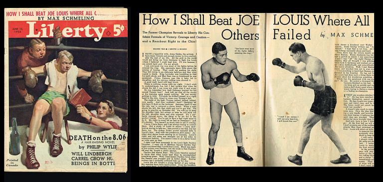 """Liberty Magazine. June 13, 1936 - Vol. 13 No. 24 (""""How I Shall Beat Joe Louis Where All Others Failed"""" by Max Schmeling). Fulton Oursler, in Chief."""