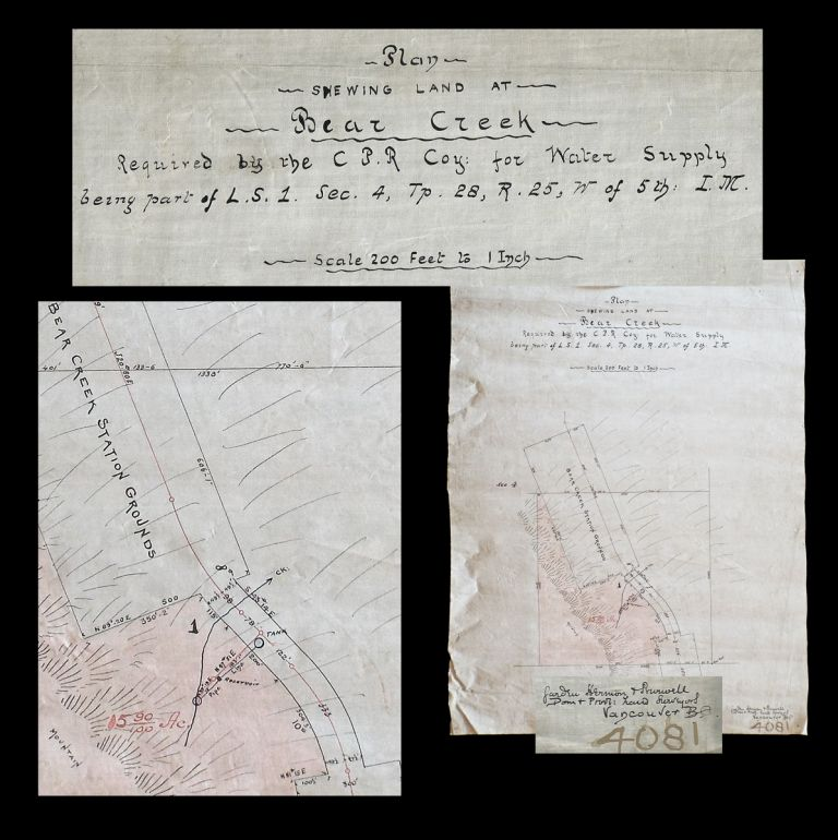 Plan Shewing Land at Bear Creek Required by the C.P.R. Co for Water Supply... (Rocky Mountains Railway Survey Map). Hermon and Burwell Garden.