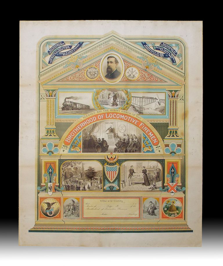 19th Century American Brotherhood of Locomotive Firemen Allegorical Chromolithographic Broadside. Brotherhood of Locomotive Firemen.