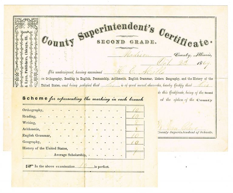 [Pedagogy] 1869 Madison County Superintendent's Certificate. Second Grade (Teacher's Certificate). County Superintendent of Schools.