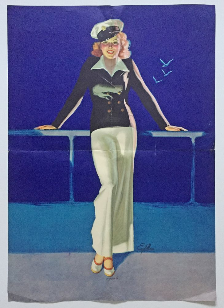 "Lithographed Pin-Up Girl ""SHIPSHAPE"" Cruise Ship Poster by Earl Moran. Earl Steffa Moran."