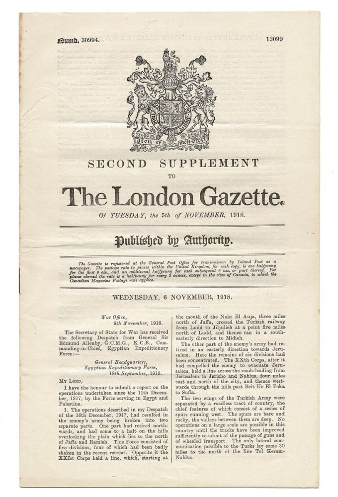 Second Supplement to The London Gazette. Of Tuesday, the 5th of November, 1918. No. 30994 (T.E. Lawrence, Wartime Dispatch). General Sir Edmund H. H. Allenby, Partialy drawn from some of T. E. Lawrence's activities.