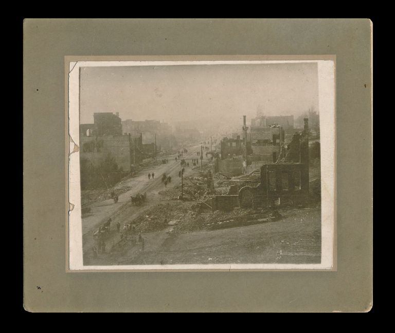 Photograph of Columbia Street in New Westminster, B.C. after the Devastating Fire of 1898 (Pre-dates Thompson's Famous Photo). Uncredited, After S. J. Thompson.
