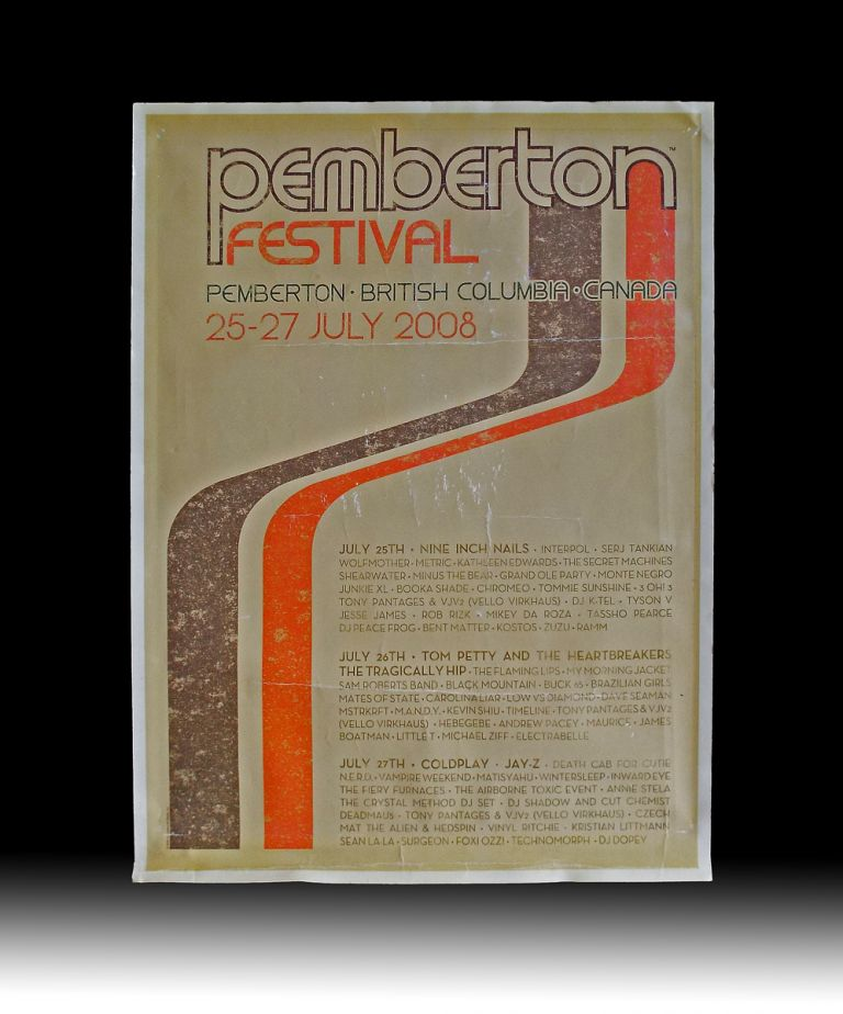 2008 Pemberton Music Festival Poster (Tom Petty and the Heartbreakers, The Tragically Hip, Nine Inch Nails, Coldplay, Jay-Z, The Flaming Lips). Inc Live Nation Worldwide.