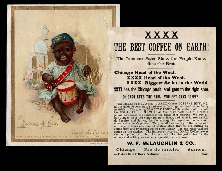 "1893 ""Decoration Day"" Trading Card (Memorial Day, Black Americana). McLaughlins XXXX Coffee."