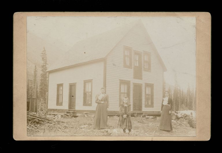 Circa 1900's Photograph of Homestead with Two Women and a Girl in the Mountains of British Columbia, Canada. William Green Barclay.