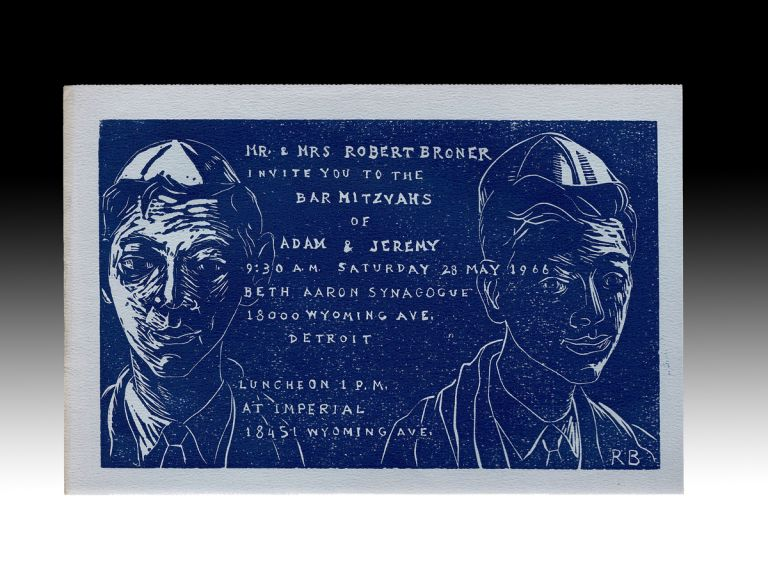 Robert Broner Woodcut Invitation to His Sons' Bar Mitzvahs in 1966 (Jewish Americana). Robert Broner.