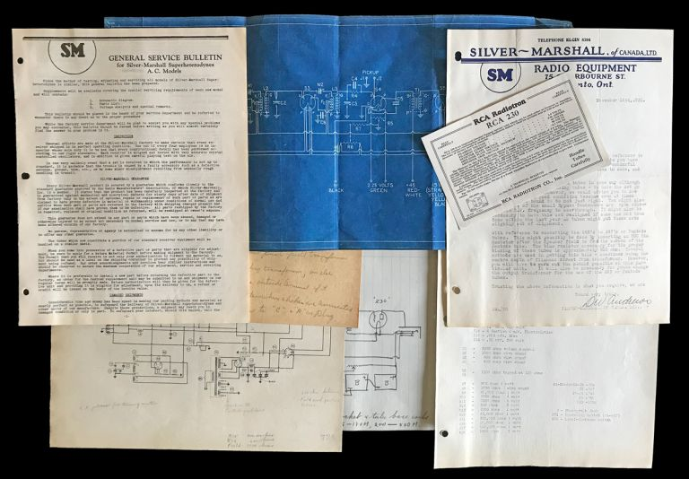 Silver-Marshall Typed Letter Signed, Silver-Marshall General Service Bulletin, Blue Print Schematic and Related Ephemera. Inc Silver-Marshall.