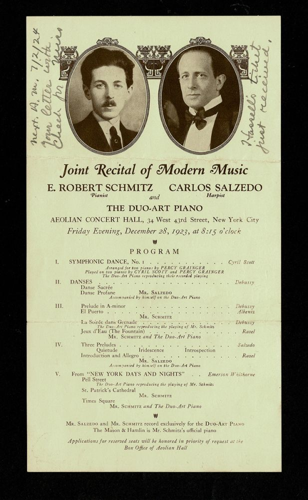 [Concert Handbill - Claude Debussy and Maurice Ravel] 1923 Joint Recital of Modern Music at the Aeolian Concert Hall : E. Robert Schmitz - Pianist ; Carlos Salzedo - Harpist and The Duo-Art Piano. Aeolian Concert Hall.