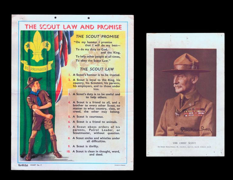 "[Vintage Boy Scout Posters] ""The Chief Scout"" together w. ""The Scout Law and Promise"" The Boy Scouts Association."
