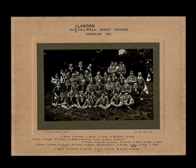 [Gilwell Park, Boy Scouts] 2nd London Gillwell Scout Course. Denham, 1923. J. Irving Farringdon, Photographer.