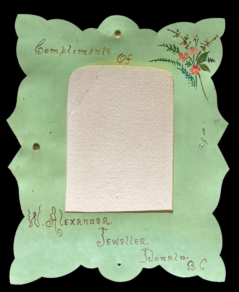 """1890's Hand-Painted """"Paris Green"""" Promotional Picture Frame from Jewelry Store in Donald, B.C. W. Alexander, Jeweller."""