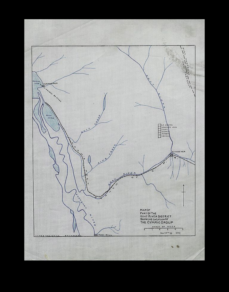 """Map of Part of the Goat River District Showing Location of the Cymric Group - 1899. """"E C. H."""""""