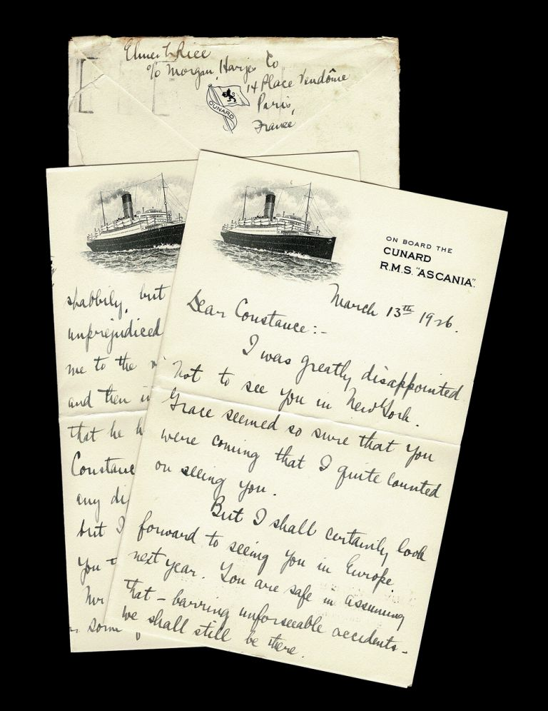 """Eight Page ALS Written by Pulitzer Prize Winner Elmer Rice While Onboard the Cunard Lines R.M.S. """"Ascania"""" in 1926. Elmer Rice."""