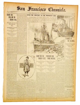 San Francisco Chronicle. Vol LXVI, No. 21, Aug. 5, 1897. (Klondike, Gold Rush, Ads). M. H. de...