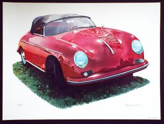 '55 Porsche Speedster (Cleworth, Signed & Numbered Limited Edition Lithograph Print). Harold James Cleworth.