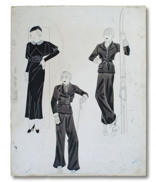 Collection of 5 Original 1930's Artist's Fashion Sketches (Ladies Wedding & Fashion Artwork )