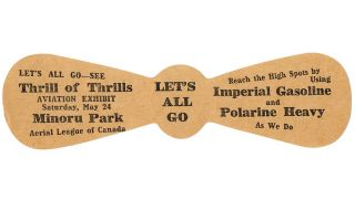 Propeller-Shaped Advertising Ephemera (Early Aviation, Barnstorming, Imperial Polarine). Aerial League of Canada.