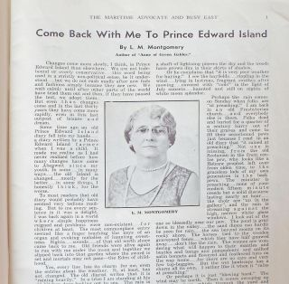 "[""Come Back With Me to Prince Edward Island"" & ""Memories of Childhood Days"" by L.M.Montgomery] The Maritime Advocate and Busy East. Vol. 26, No. 10 - 11 : May - June, 1936"