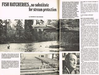 "BC Outdoors : Vol. 29 - No. 4, July/Aug.1973 (contains ""Fish Hatcheries : No Substitute for Stream Protection"" by R. Haig-Brown). Art Downs, Roderick Haig-Brown."