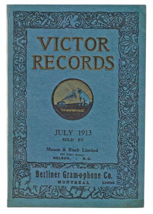 "Victor Records : July, 1913 - ""His Master's Voice"" (Trade Catalogue, Vintage Vinyl). Berliner..."