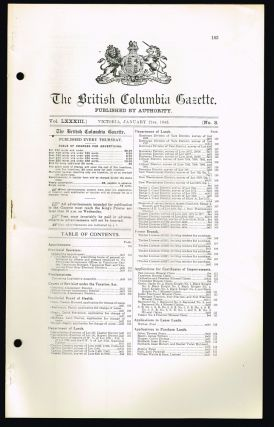 The British Columbia Gazette, Vol. LXXXII, Numbers 1 - 53. (Jan. 2nd, 1942 - Dec. 31st, 1942). British Columbia.