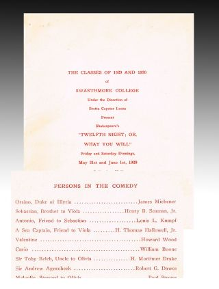 "James A. Michener Headlines in 1929 Swarthmore Performance Program as Orsino in Shakespeare's ""Twelfth Night"""
