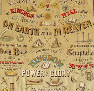 American Odd Fellows : 1873 Chromolithograph Broadside of The Lord's Prayer (Freemasonry, Fraternal Orders)