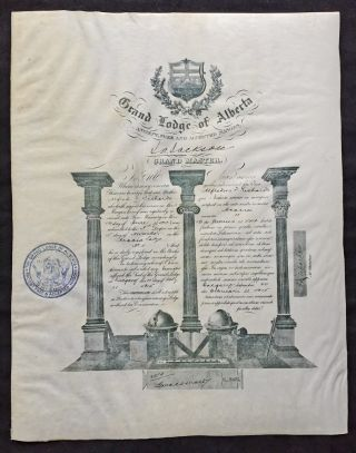1915 Master Mason Certificate for Acacia Lodge No 11 (Blue Lodge Freemasonry, 3rd Degree). The...