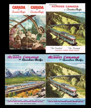 4 CPR Dome Route Pamphlets. Eastward Across Canada by Canadian Pacific : The Only Dome Route...