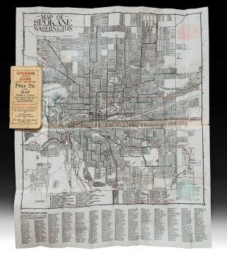 Spokane Pocket Guide : Latest 1926 Edition with Map Printed in 3 Colors Showing Location of Blocks, Streets, Main Highways, Street Car Lines and Public Parks